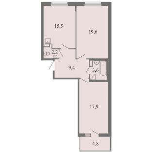 Планировка Двухкомнатная квартира площадью 68.2 кв.м в ЖК ««Огни Залива»»