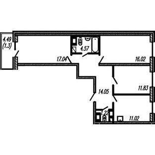 Планировка Трёхкомнатная квартира площадью 75.75 кв.м в ЖК ««Огни Залива»»
