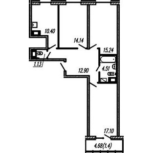 Планировка Трёхкомнатная квартира площадью 75.42 кв.м в ЖК ««Огни Залива»»