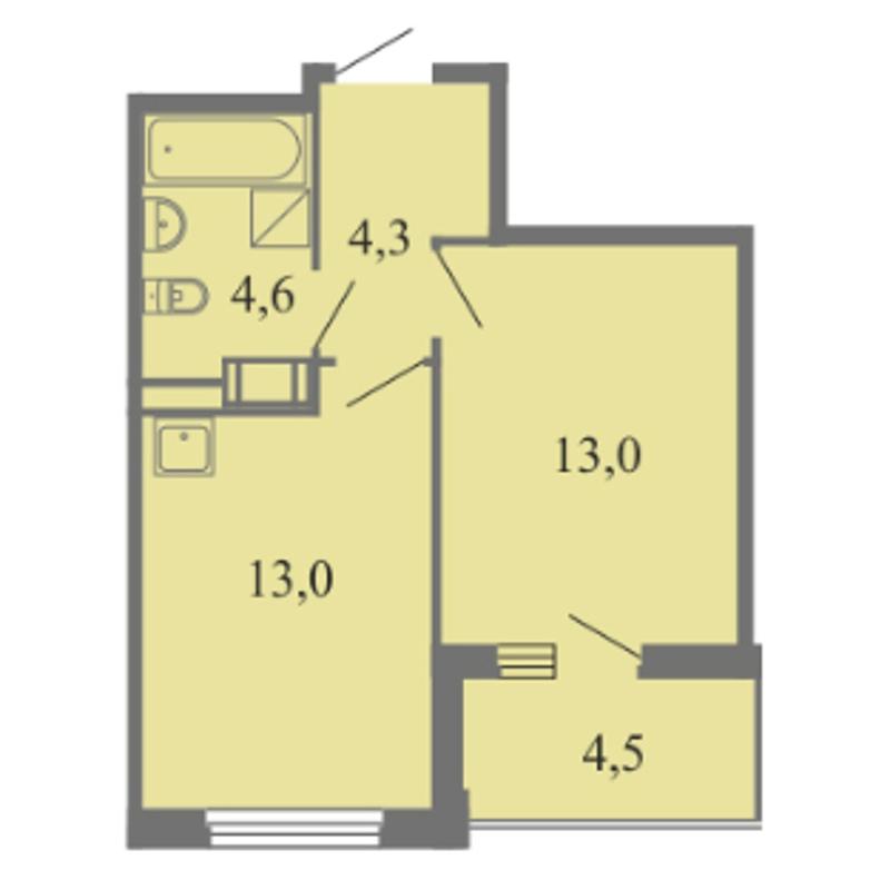 Планировка Однокомнатная квартира площадью 34.9 кв.м в ЖК «Огни залива»