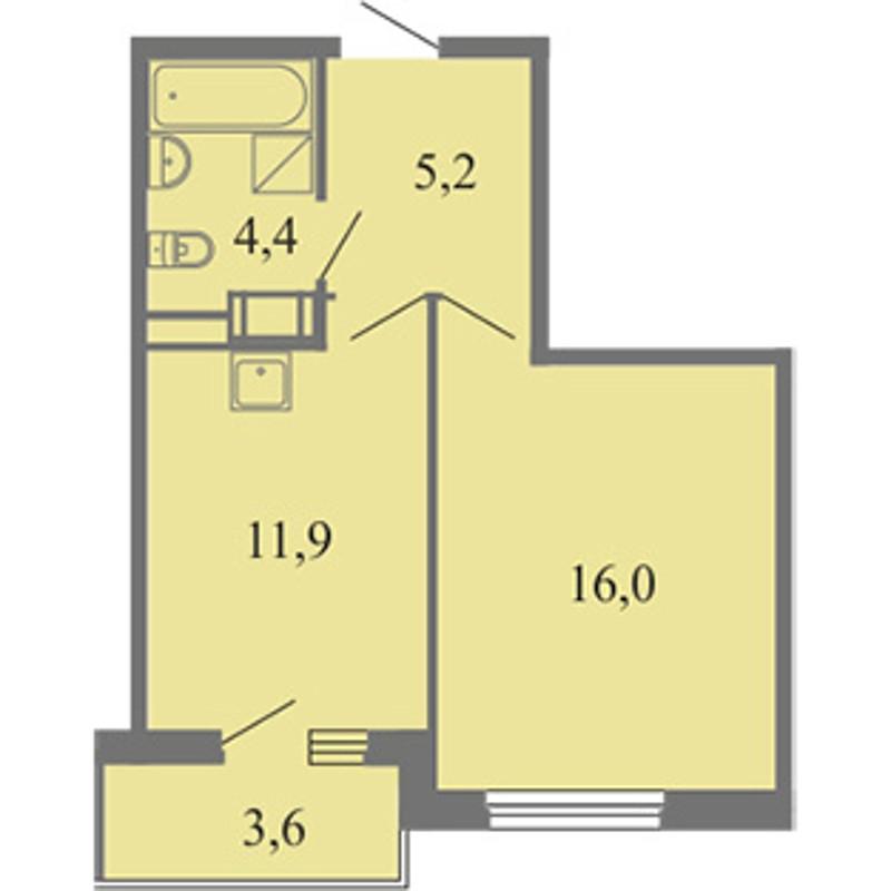 Планировка Однокомнатная квартира площадью 37.5 кв.м в ЖК «Огни залива»