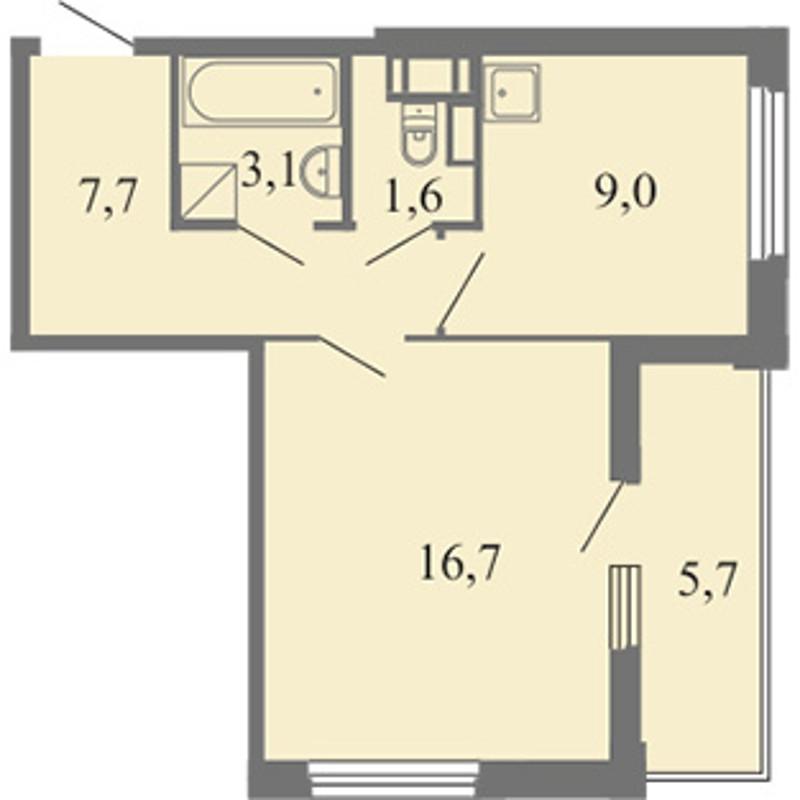 Планировка Однокомнатная квартира площадью 38.1 кв.м в ЖК «Огни залива»