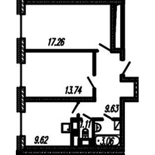 Планировка Двухкомнатная квартира площадью 54.42 кв.м в ЖК ««Огни Залива»»