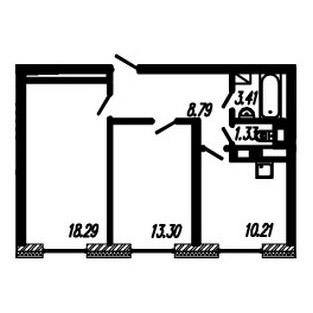 Планировка Двухкомнатная квартира площадью 55.33 кв.м в ЖК ««Огни Залива»»