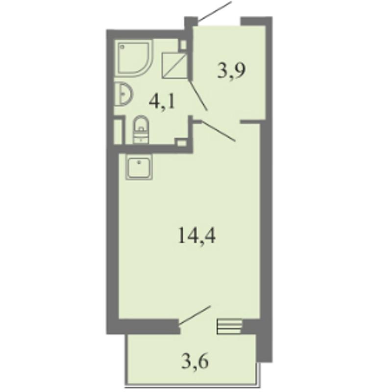 Планировка Студия площадью 22.4 кв.м в ЖК «Огни залива»