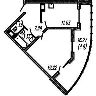 Планировка Однокомнатная квартира площадью 42.2 кв.м в ЖК ««Огни Залива»»