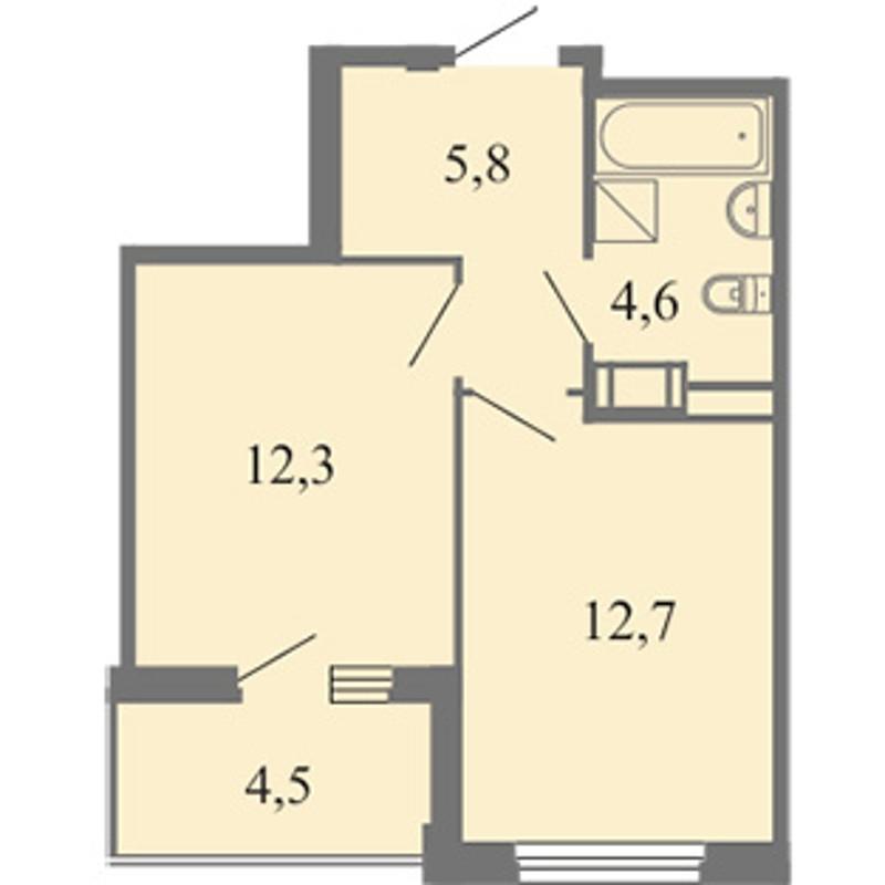 Планировка Однокомнатная квартира площадью 35.4 кв.м в ЖК «Огни залива»