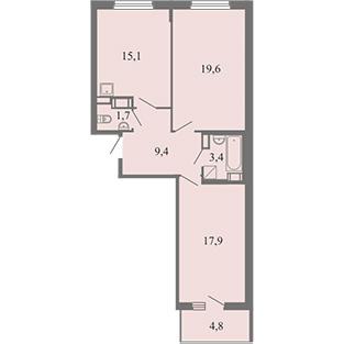 Планировка Двухкомнатная квартира площадью 67.1 кв.м в ЖК ««Огни Залива»»