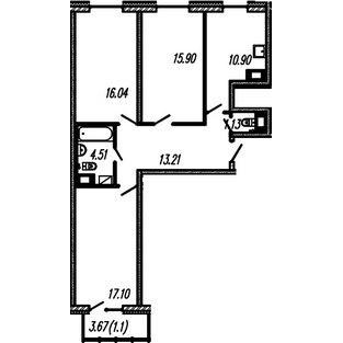 Планировка Трёхкомнатная квартира площадью 78.89 кв.м в ЖК ««Огни Залива»»