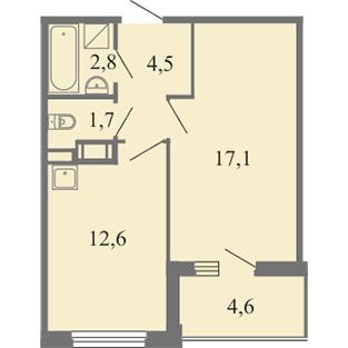 Планировка Однокомнатная квартира площадью 38.7 кв.м в ЖК ««Огни Залива»»