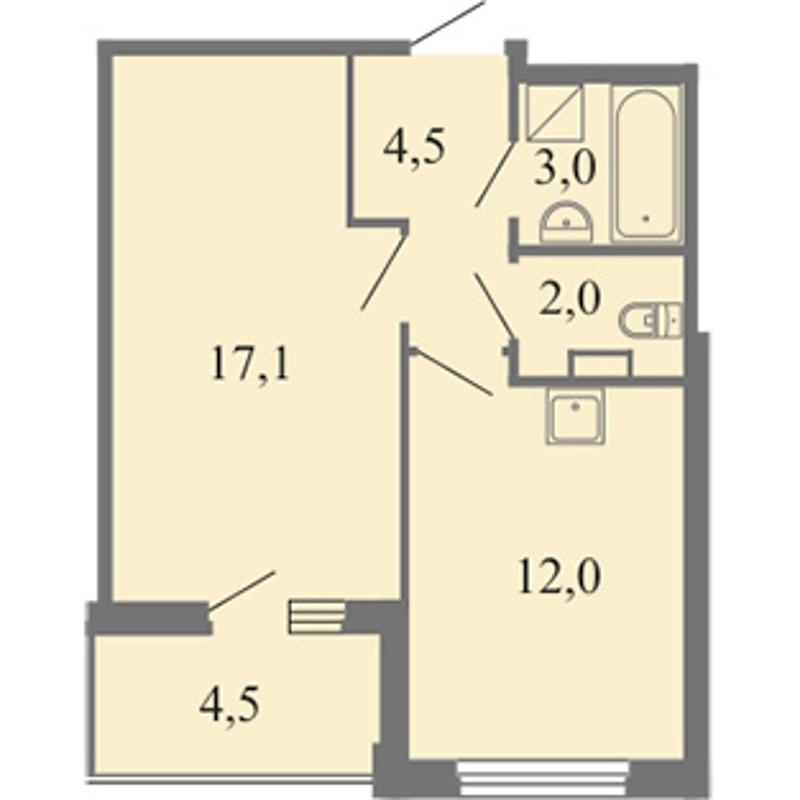 Планировка Однокомнатная квартира площадью 38.6 кв.м в ЖК «Огни залива»