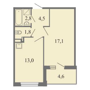 Планировка Однокомнатная квартира площадью 39.2 кв.м в ЖК ««Огни Залива»»