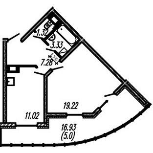 Планировка Однокомнатная квартира площадью 42.17 кв.м в ЖК ««Огни Залива»»