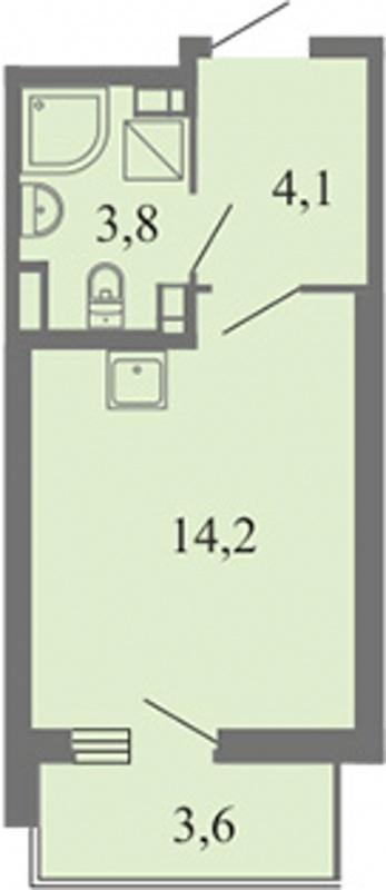 Планировка Студия площадью 22.1 кв.м в ЖК «Огни залива»