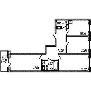 Планировка Трёхкомнатная квартира площадью 76.13 кв.м в ЖК ««Огни Залива»»